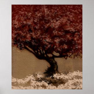 Tree - Red variation 10 Poster