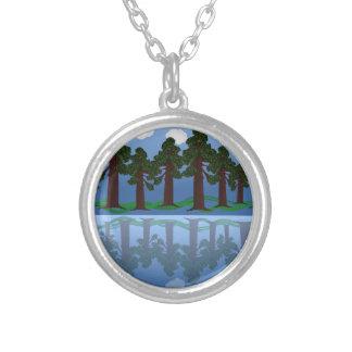 tree reflection round pendant necklace