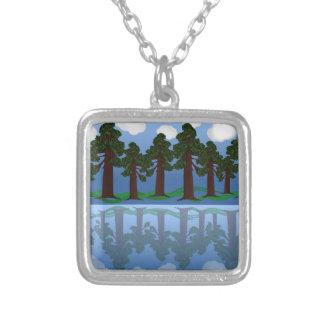 tree reflection square pendant necklace