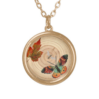tree ring with insects leaf necklace