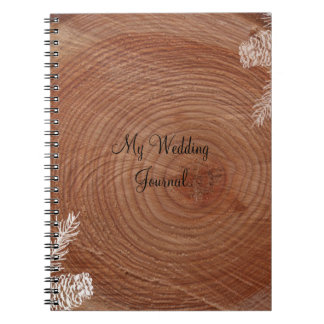 Tree Rings Rustic Country Wedding Journal Spiral Note Books