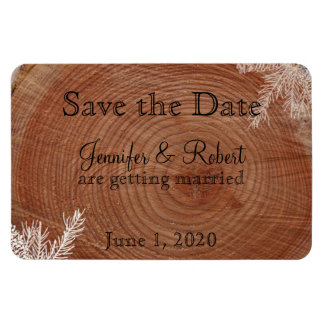 Tree Rings Rustic Country Wedding Save the Date Vinyl Magnet