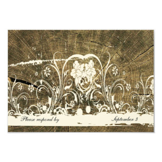 Tree Rings Shabby Lace rsvp with envelopes 9 Cm X 13 Cm Invitation Card
