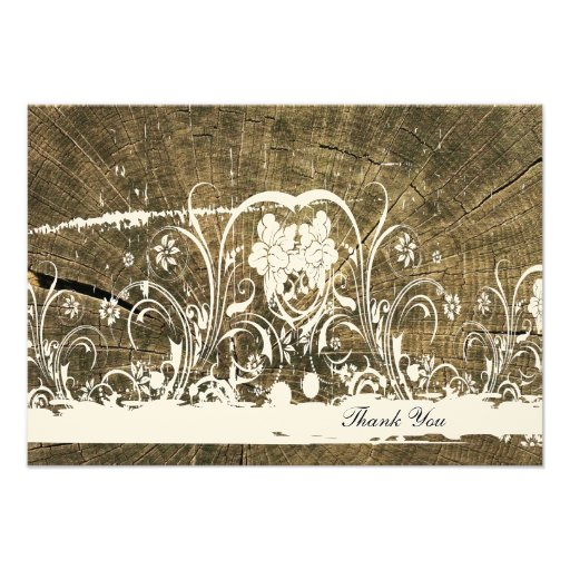 Tree Rings Shabby Lace thank you notes Personalized Announcements