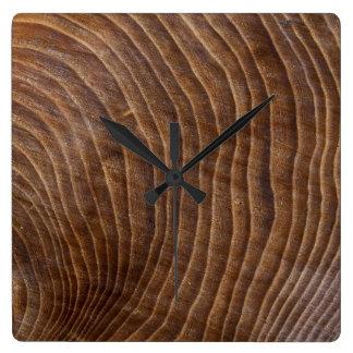 Tree rings square wall clock