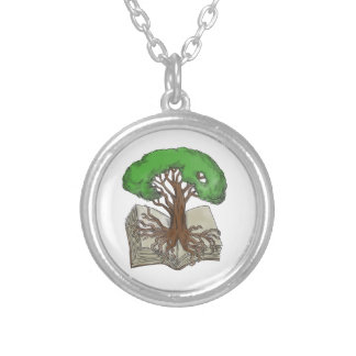 Tree Rooted on Book Tattoo Silver Plated Necklace