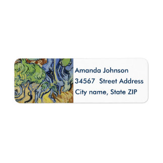 Tree roots, trunks, Vincent van Gogh, customize Return Address Label