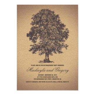 Tree Rustic Vintage Engagement Party Card