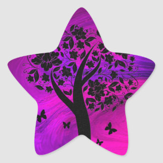 Tree Silhouette and Butterflies Abstract Art Star Sticker