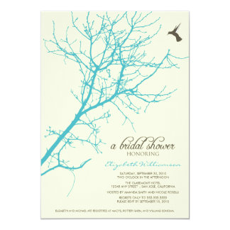 Tree Silhouette Bridal Shower Invitation (aqua)