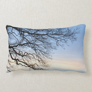 Tree Silhouette in a Blue Winters Sky Lumbar Cushion