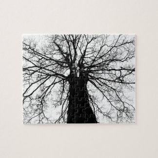 Tree Silhouette in Black and White Jigsaw Puzzle