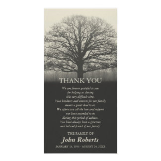 Tree Silhouette Memorial Service Thank You Card