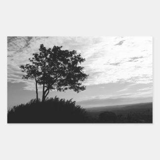 Tree Silhouette Monochrome Rectangular Sticker