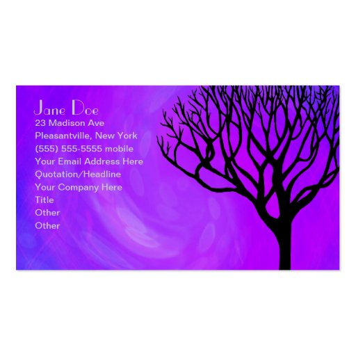 Tree Silhouette (Northern Lights) Business Card Template