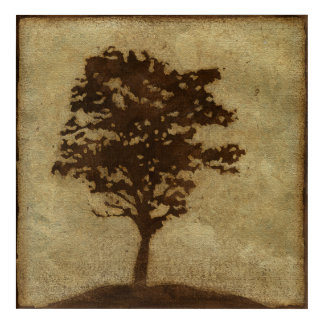 Tree Silhouette on Bronze Background Acrylic Print