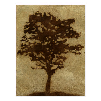 Tree Silhouette on Bronze Background Postcard