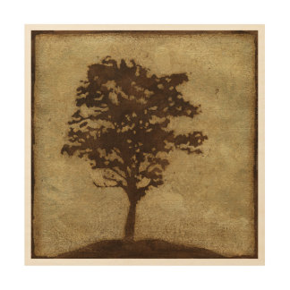 Tree Silhouette on Bronze Background Wood Wall Decor