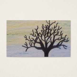 tree silhouette on sunset business card