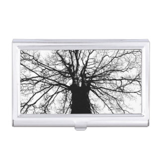 Tree Silhouette on White Business Card Holder