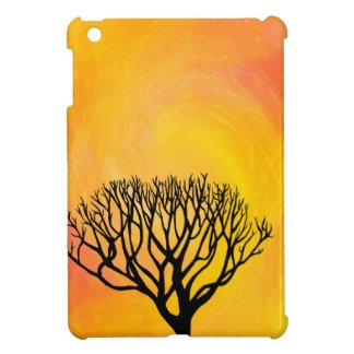 Tree Silhouette (Orange Sunburst) iPad Mini Cover