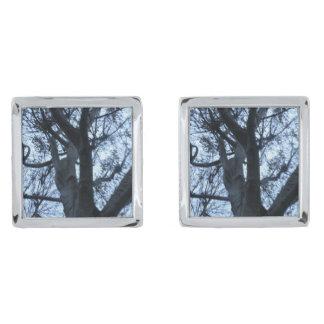 Tree Silhouette Photograph Cufflinks Silver Finish Cufflinks
