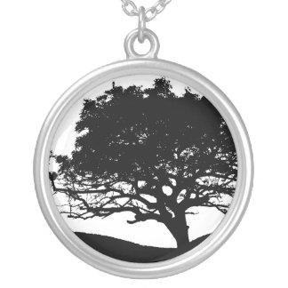 Tree Silhouette Round Pendant Necklace