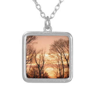 Tree Silhouette Silver Plated Necklace