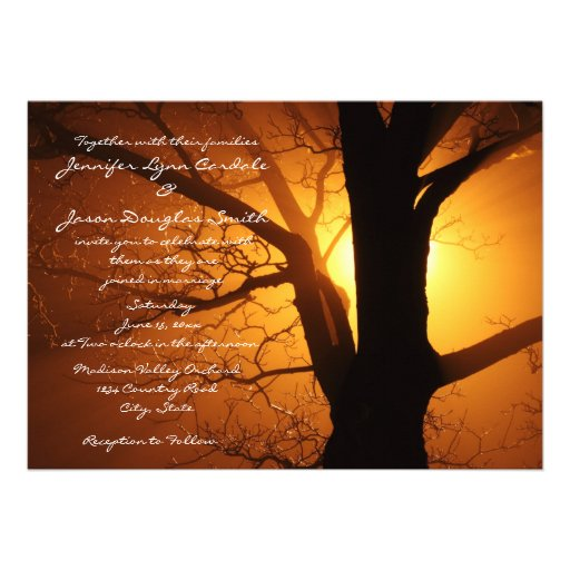 Tree Silhouette Sunset Country Wedding Invitations