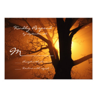 Tree Silhouette Sunset Country Wedding RSVP Cards