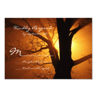 Tree Silhouette Sunset Country Wedding RSVP Cards Invitation