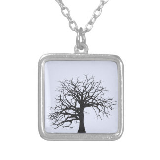 Tree Silhoutte Silver Plated Square Necklace