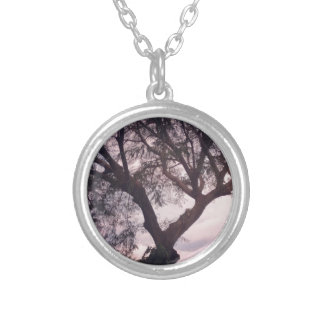 tree silver plated necklace