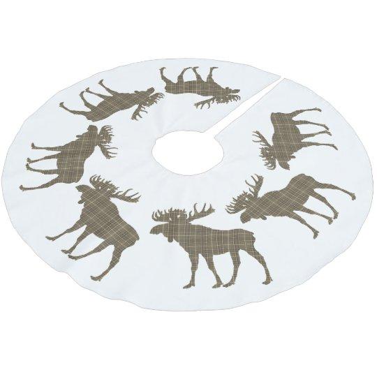 Tree skirt Christmas brown plaid moose Brushed Polyester Tree Skirt