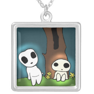 Tree Spirits Square Pendant Necklace