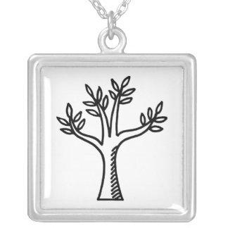 tree square pendant necklace