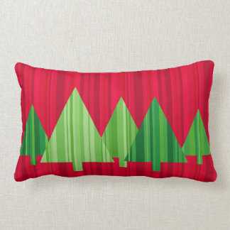 Tree Stripes Christmas Pillow — LUMBAR (Red) Throw Cushion