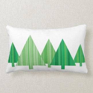 Tree Stripes Christmas Pillow — LUMBAR (White) Cushion