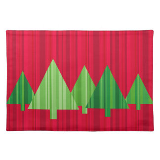 Tree Stripes Christmas Placemat (Red)