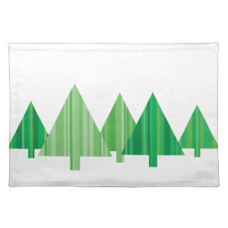 Tree Stripes Christmas Placemat (White)