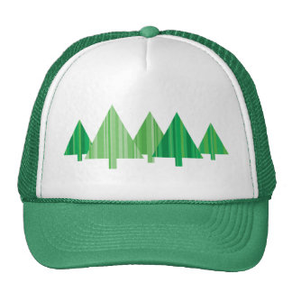 Tree Stripes Green Christmas Hat