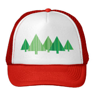 Tree Stripes Red Christmas Hat