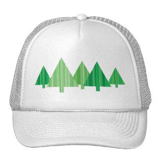 Tree Stripes White Christmas Hat