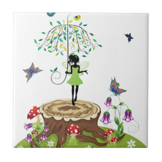 Tree Stump and Fairy 2 Small Square Tile