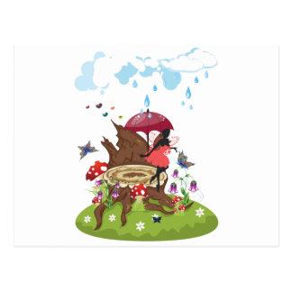 Tree Stump and Fairy Postcard