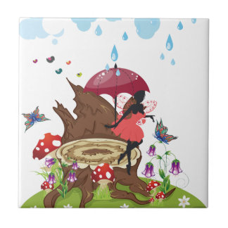 Tree Stump and Fairy Small Square Tile