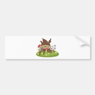 Tree Stump and Mushrooms Bumper Sticker
