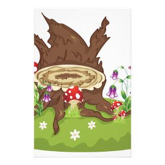 Tree Stump and Mushrooms Stationery Paper