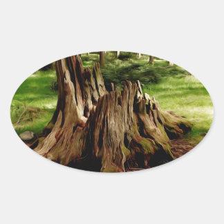 Tree Stump Oval Sticker