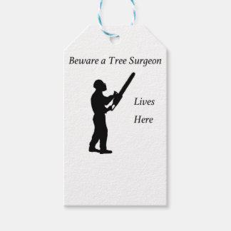 Tree Surgeon Arborist at work present Chainsaw Gift Tags